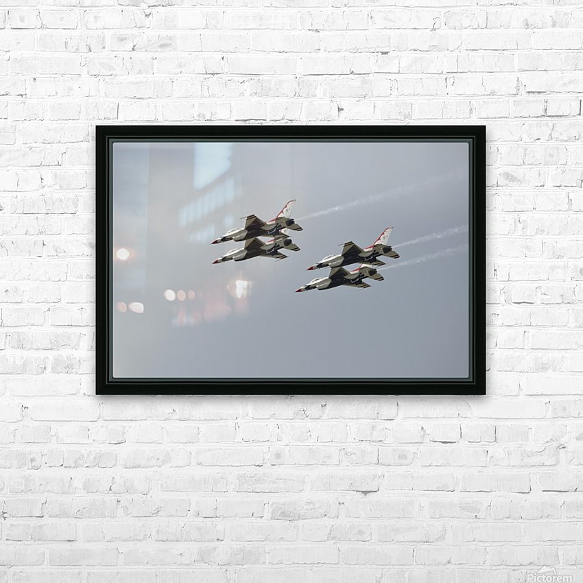 The U.S. Air Force Thunderbirds fly in formation. HD Sublimation Metal print with Decorating Float Frame (BOX)