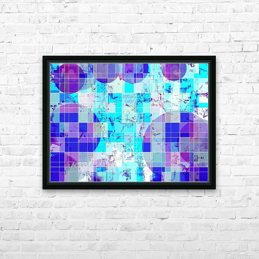 geometric square and circle pattern abstract in blue HD Sublimation Metal print with Decorating Float Frame (BOX)
