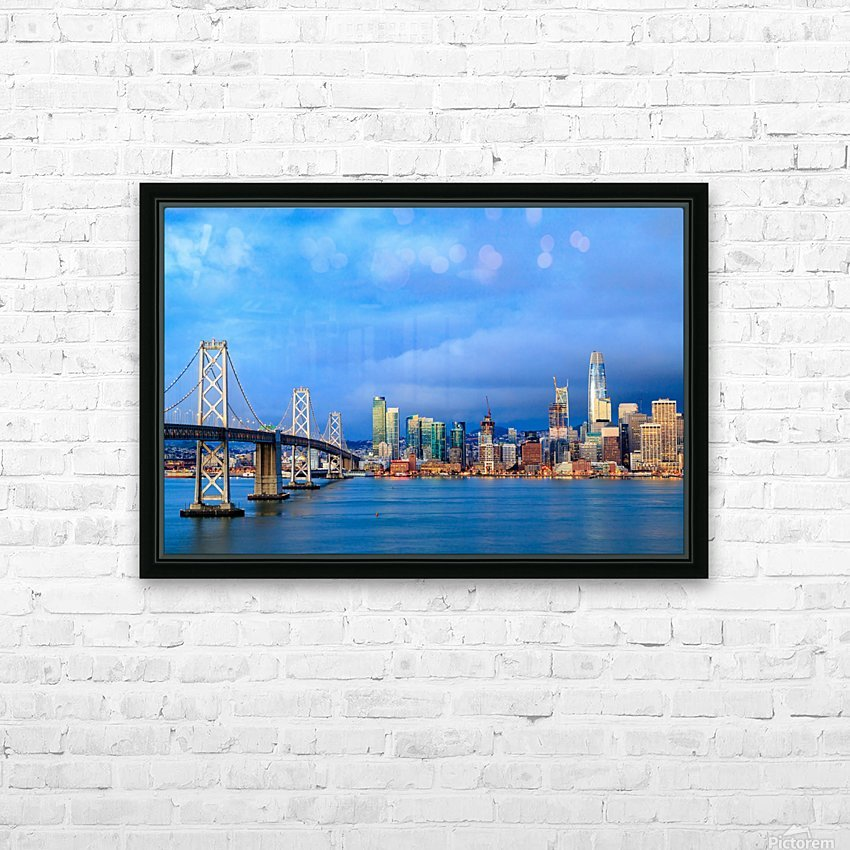 San Francisco on Blue HD Sublimation Metal print with Decorating Float Frame (BOX)