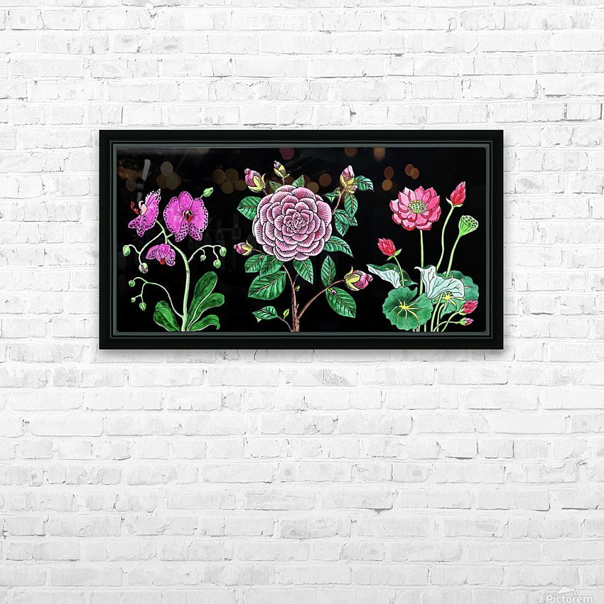 Camellia Orchid Lotus Flowers Watercolor On Black HD Sublimation Metal print with Decorating Float Frame (BOX)