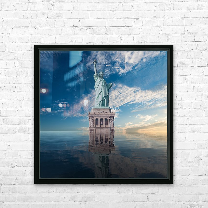 STATUE OF LIBERTY HD Sublimation Metal print with Decorating Float Frame (BOX)