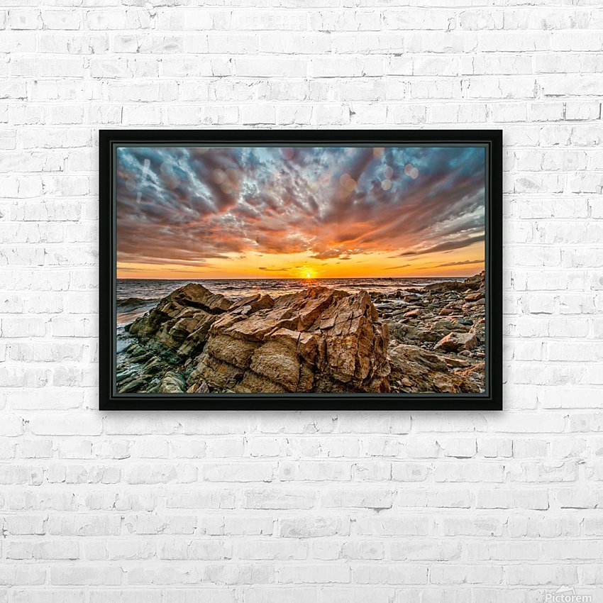 Rocks and Sunset HD Sublimation Metal print with Decorating Float Frame (BOX)