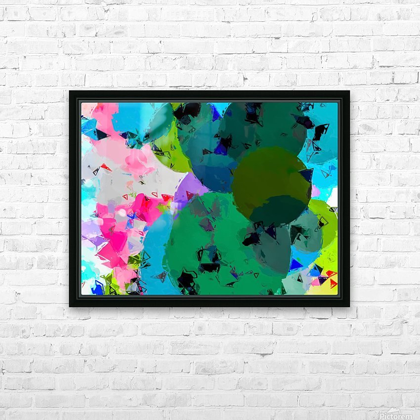 geometric circle pattern abstract in green blue pink HD Sublimation Metal print with Decorating Float Frame (BOX)