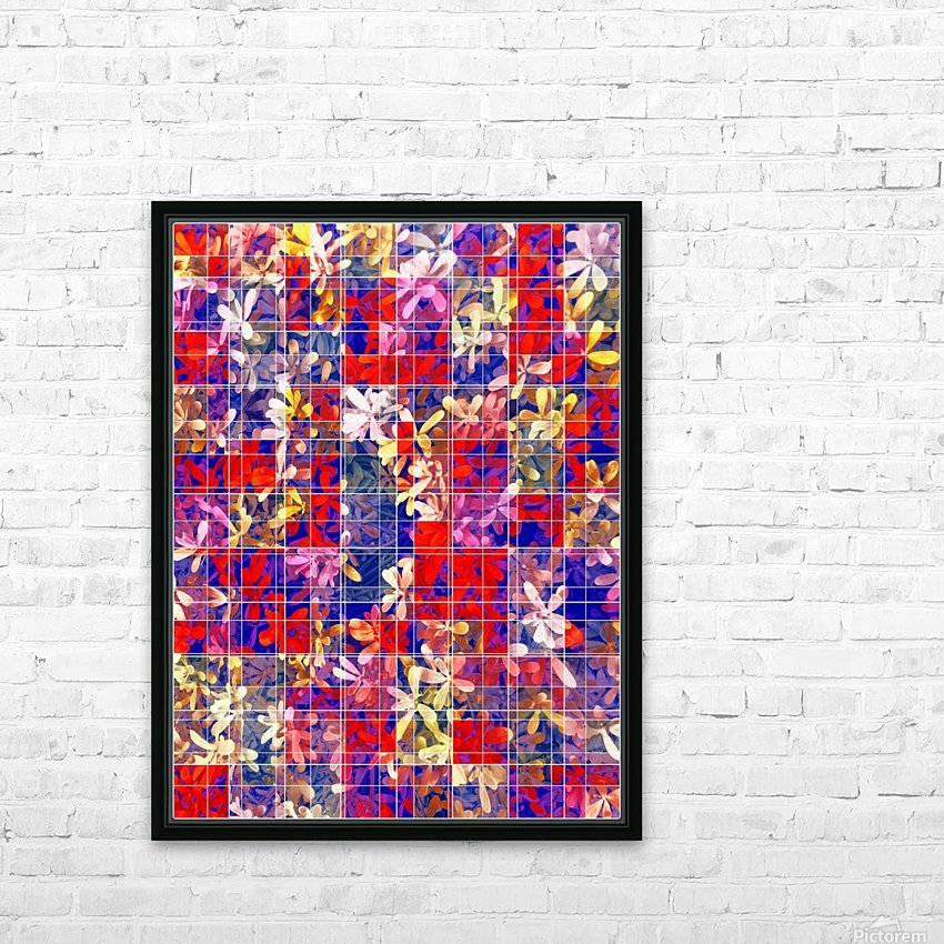blooming flower with square pattern abstract in red and blue HD Sublimation Metal print with Decorating Float Frame (BOX)