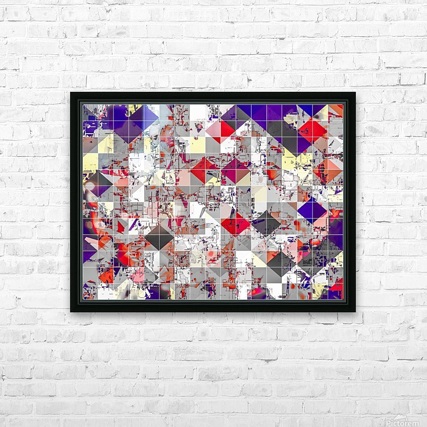 geometric square pixel pattern abstract in purple orange red HD Sublimation Metal print with Decorating Float Frame (BOX)