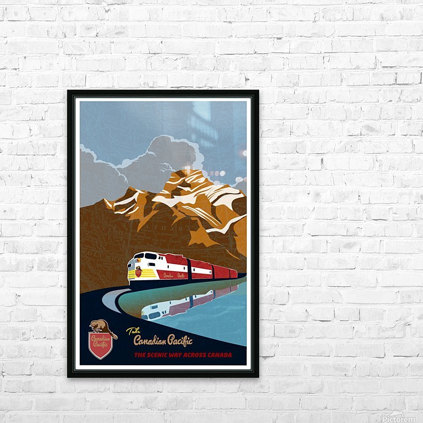 Retro CP rail travel poster HD Sublimation Metal print with Decorating Float Frame (BOX)