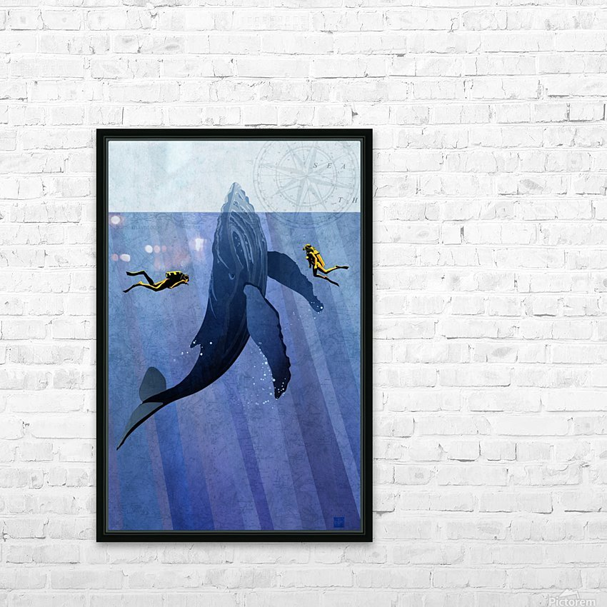 Scuba Dive with Whale HD Sublimation Metal print with Decorating Float Frame (BOX)