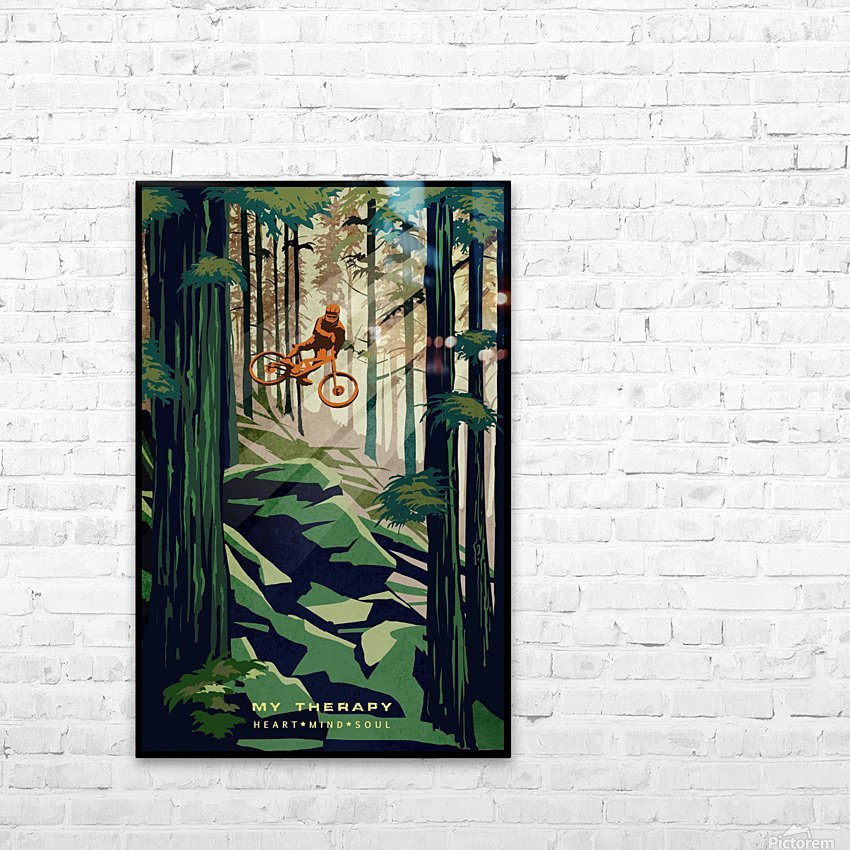My Therapy retro Mountain biking art  HD Sublimation Metal print with Decorating Float Frame (BOX)