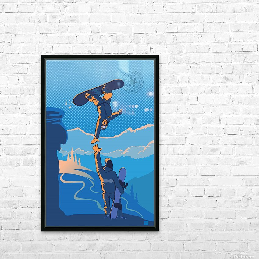 snowboard highfive HD Sublimation Metal print with Decorating Float Frame (BOX)