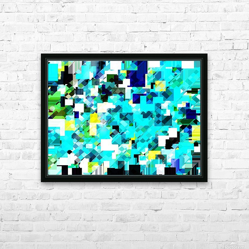 geometric square pixel pattern abstract in blue and yellow HD Sublimation Metal print with Decorating Float Frame (BOX)