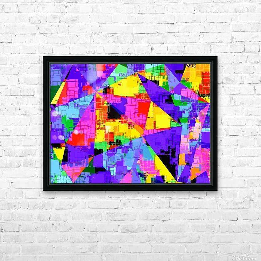 geometric triangle abstract background in purple blue pink yellow HD Sublimation Metal print with Decorating Float Frame (BOX)