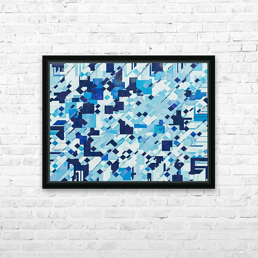 geometric square pixel pattern abstract background in blue HD Sublimation Metal print with Decorating Float Frame (BOX)