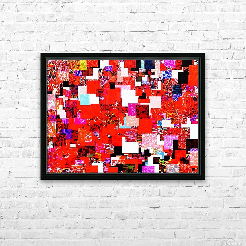 geometric square pixel pattern abstract in red blue pink HD Sublimation Metal print with Decorating Float Frame (BOX)