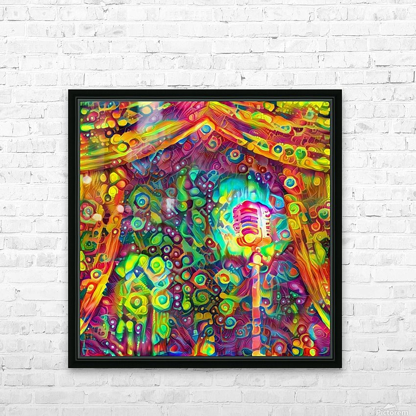 Classic Microphone with Colorful Curtains HD Sublimation Metal print with Decorating Float Frame (BOX)