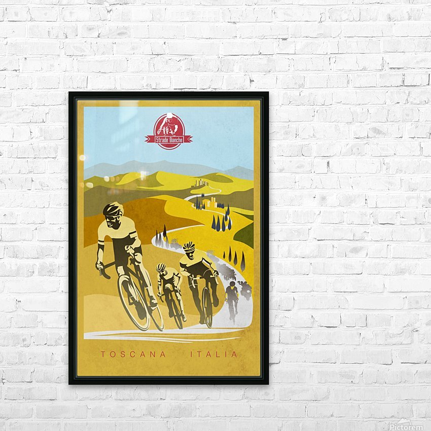 retro Strade Bianche cycling poster HD Sublimation Metal print with Decorating Float Frame (BOX)