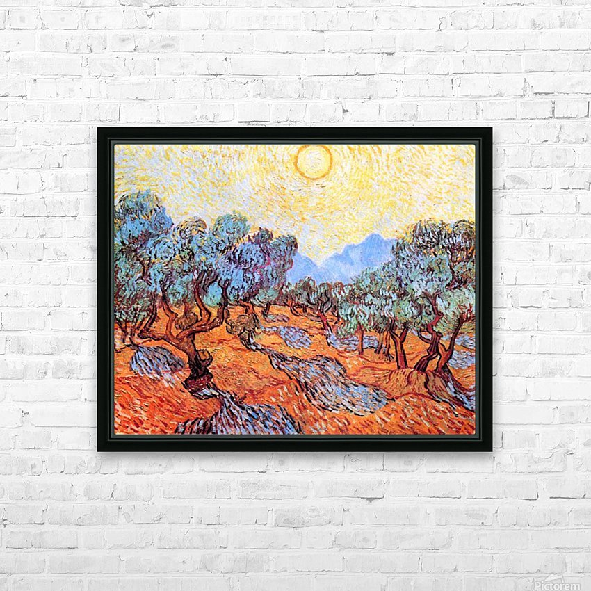 Olive Grove by Van Gogh HD Sublimation Metal print with Decorating Float Frame (BOX)