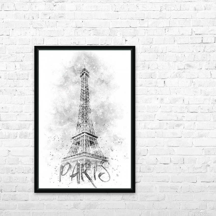 Monochrome Art EIFFEL TOWER | watercolor HD Sublimation Metal print with Decorating Float Frame (BOX)
