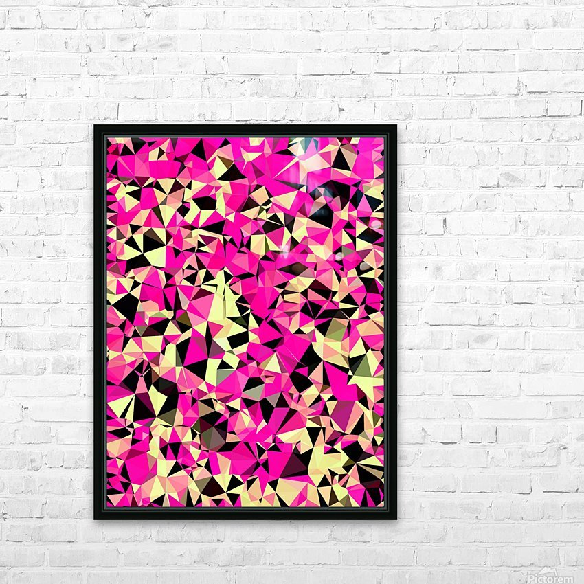 geometric triangle pattern abstract in pink and black HD Sublimation Metal print with Decorating Float Frame (BOX)