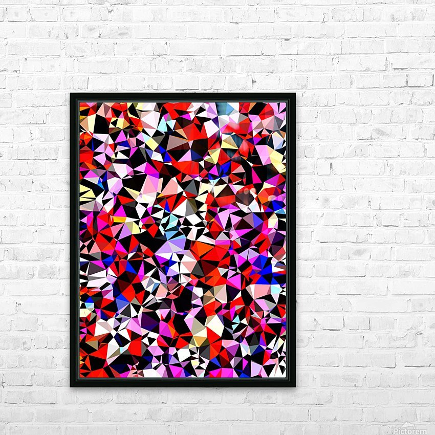 geometric triangle pattern abstract in red pink black blue HD Sublimation Metal print with Decorating Float Frame (BOX)