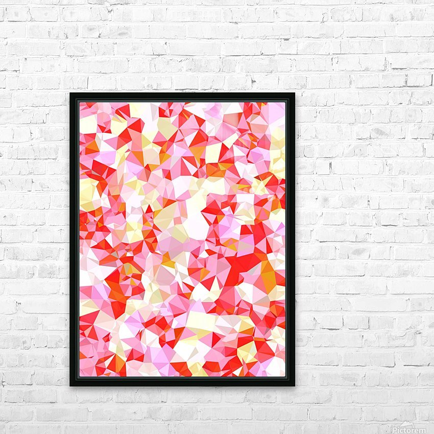 geometric triangle pattern abstract in pink red orange HD Sublimation Metal print with Decorating Float Frame (BOX)