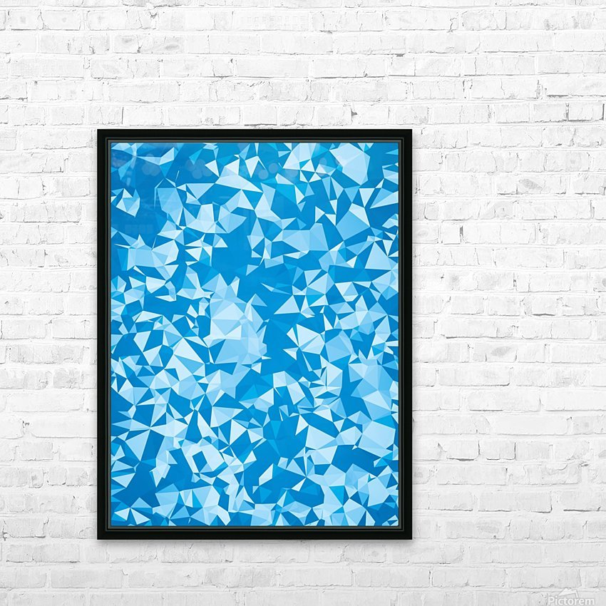 geometric triangle pattern abstract in blue HD Sublimation Metal print with Decorating Float Frame (BOX)