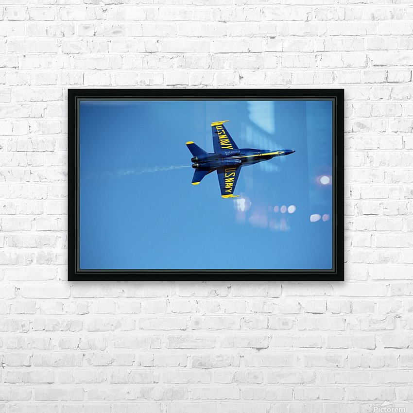 Single USN Blue Angel Flying HD Sublimation Metal print with Decorating Float Frame (BOX)