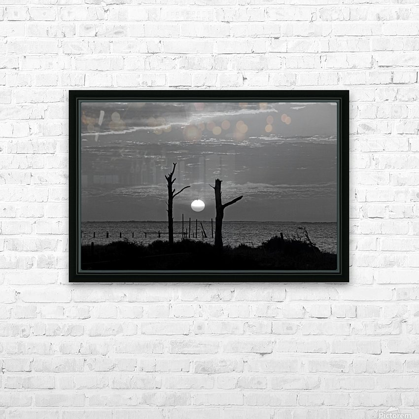 BW Two Tree Sunset HD Sublimation Metal print with Decorating Float Frame (BOX)