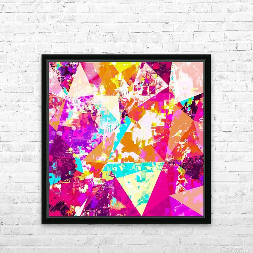 geometric triangle pattern abstract in pink blue purple HD Sublimation Metal print with Decorating Float Frame (BOX)