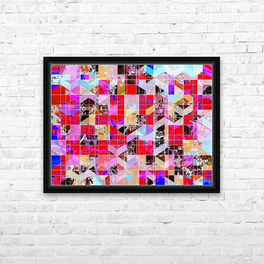 geometric square and triangle pattern abstract in red pink blue HD Sublimation Metal print with Decorating Float Frame (BOX)