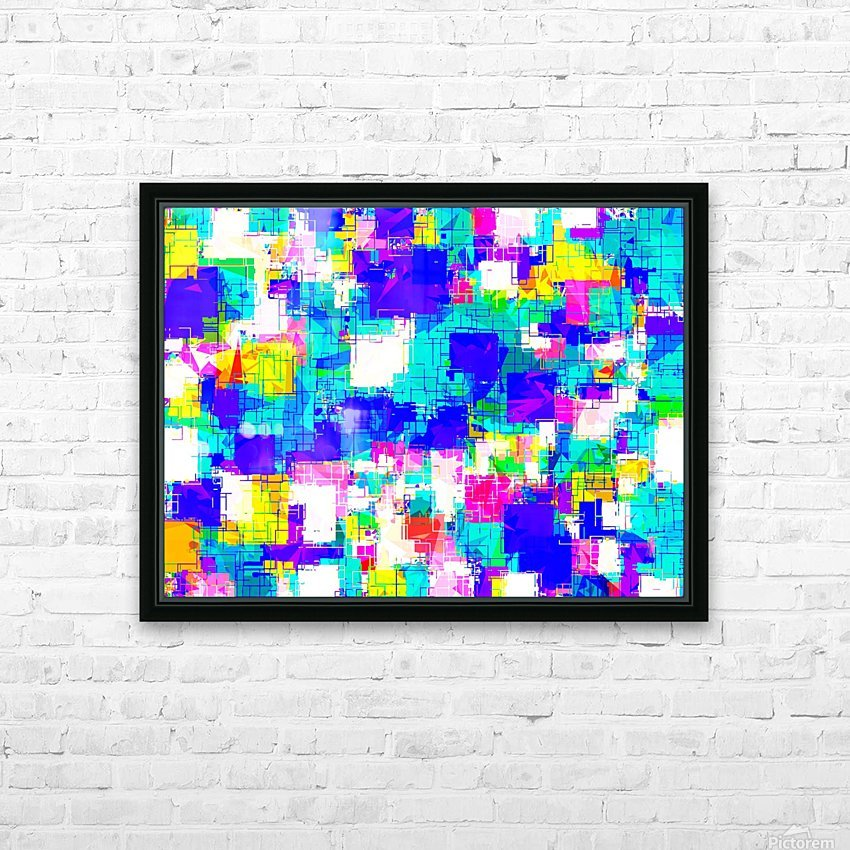 geometric square pattern abstract in blue pink yellow HD Sublimation Metal print with Decorating Float Frame (BOX)