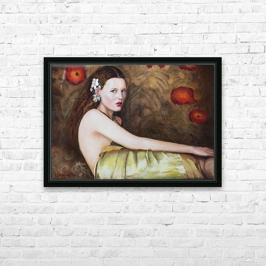 Woman with flowers for all season HD Sublimation Metal print with Decorating Float Frame (BOX)