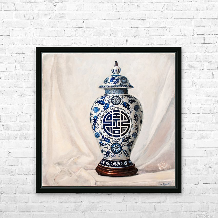 Blue and white vase  HD Sublimation Metal print with Decorating Float Frame (BOX)