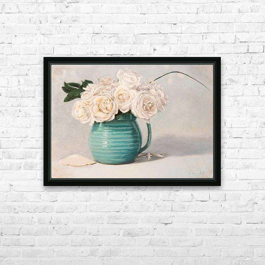 White roses in green pitcher 28 x 40 oil painting landscape 1 HD Sublimation Metal print with Decorating Float Frame (BOX)