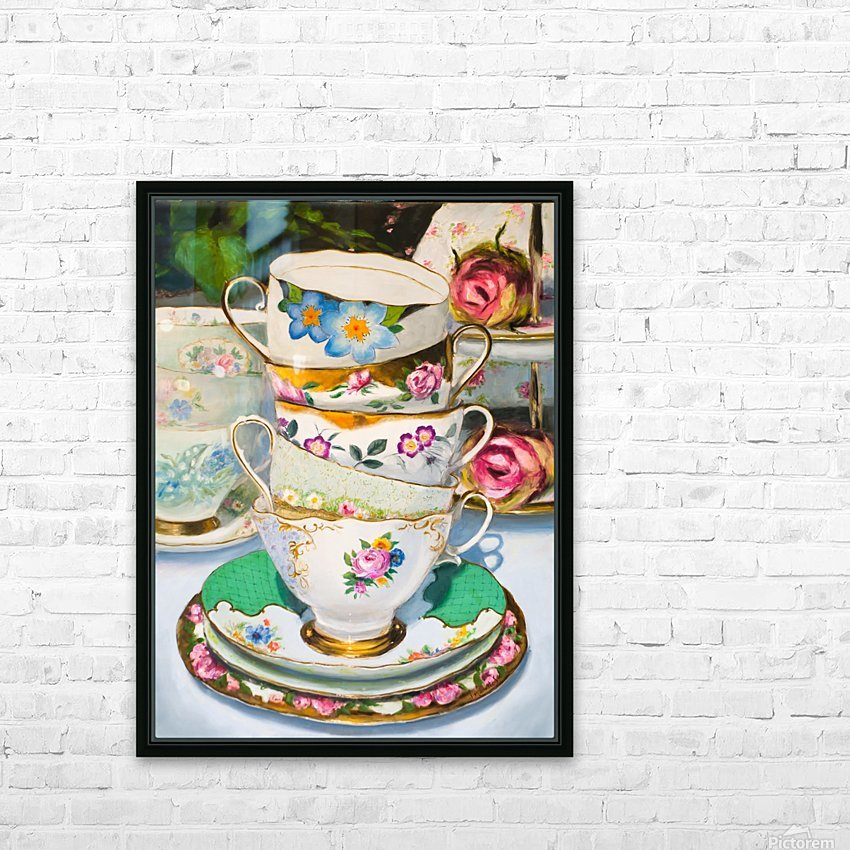 Cups and roses  still life oil painting  HD Sublimation Metal print with Decorating Float Frame (BOX)