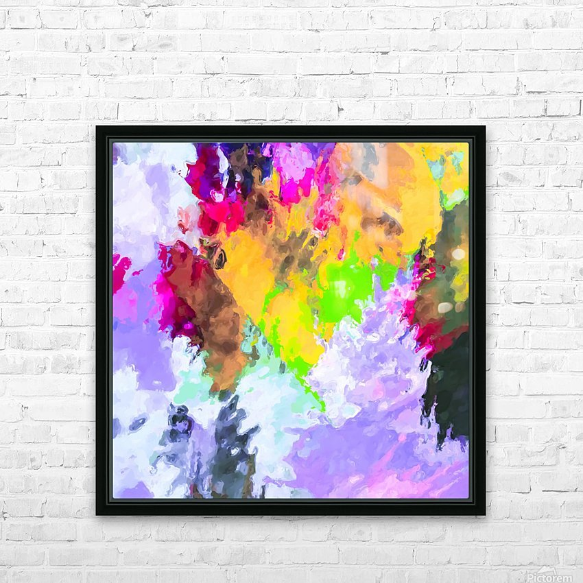 painting texture abstract background in purple yellow green pink HD Sublimation Metal print with Decorating Float Frame (BOX)