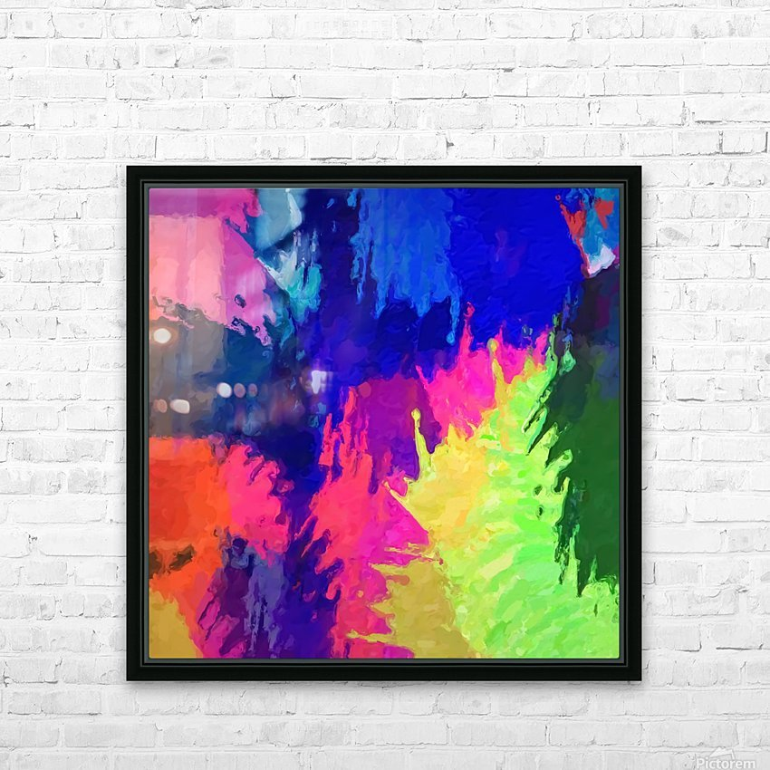 painting texture abstract background in blue pink yellow green HD Sublimation Metal print with Decorating Float Frame (BOX)