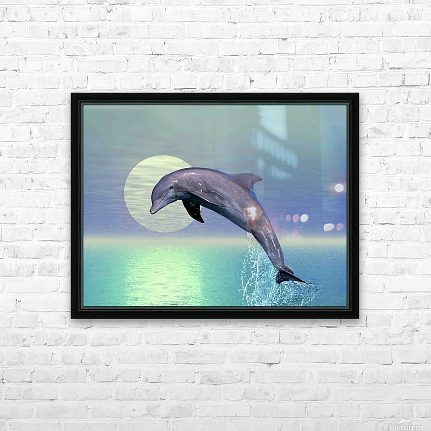 Dolphin HD Sublimation Metal print with Decorating Float Frame (BOX)