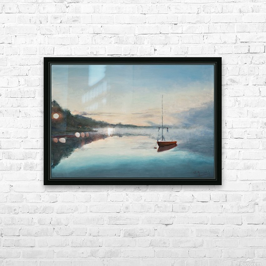 At rest  Au repos   oil painting  waterscape 1 HD Sublimation Metal print with Decorating Float Frame (BOX)
