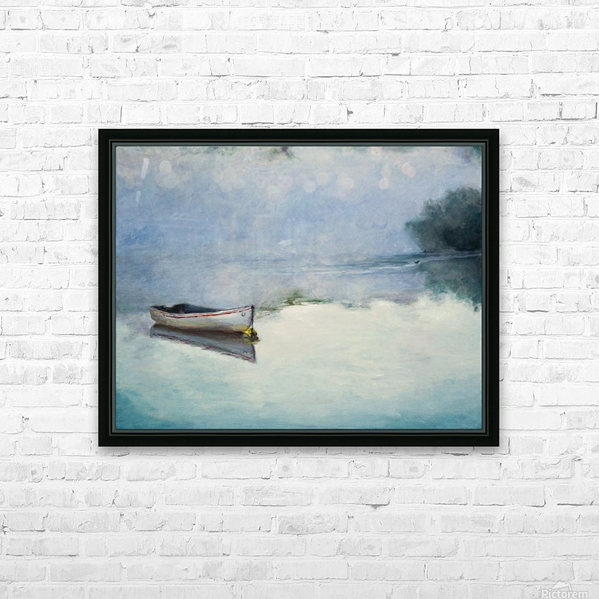 Fog on the lake   Brume sur le lac oil painting waterscape 1 HD Sublimation Metal print with Decorating Float Frame (BOX)