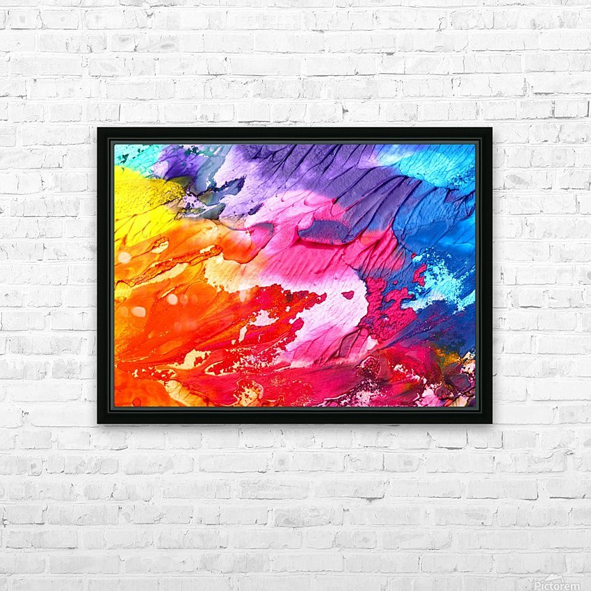 abstract, art, background, paint, texture, colorful, red, color, blue, watercolor, design, canvas, artistic, yellow, blot, HD Sublimation Metal print with Decorating Float Frame (BOX)