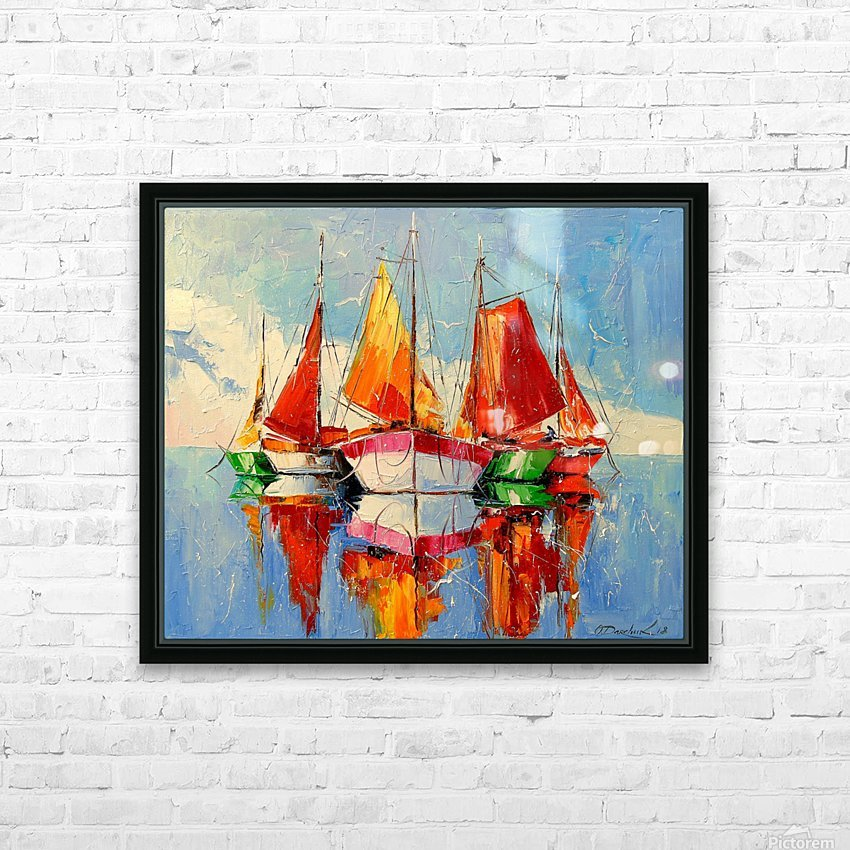 Boats in the morning HD Sublimation Metal print with Decorating Float Frame (BOX)