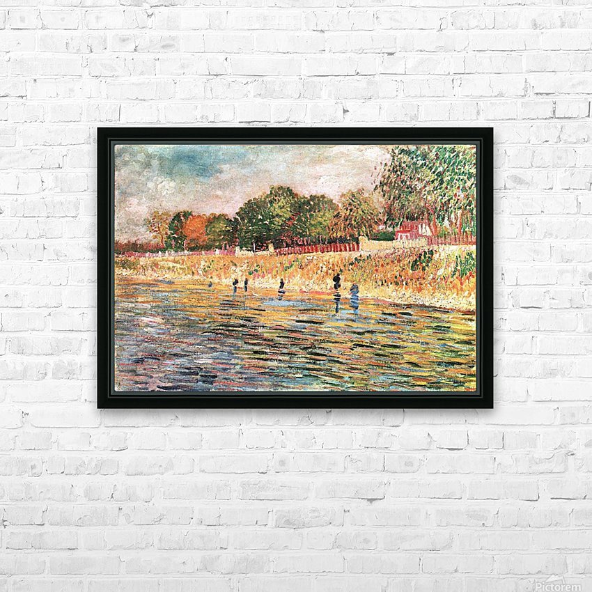 River bank by Van Gogh HD Sublimation Metal print with Decorating Float Frame (BOX)