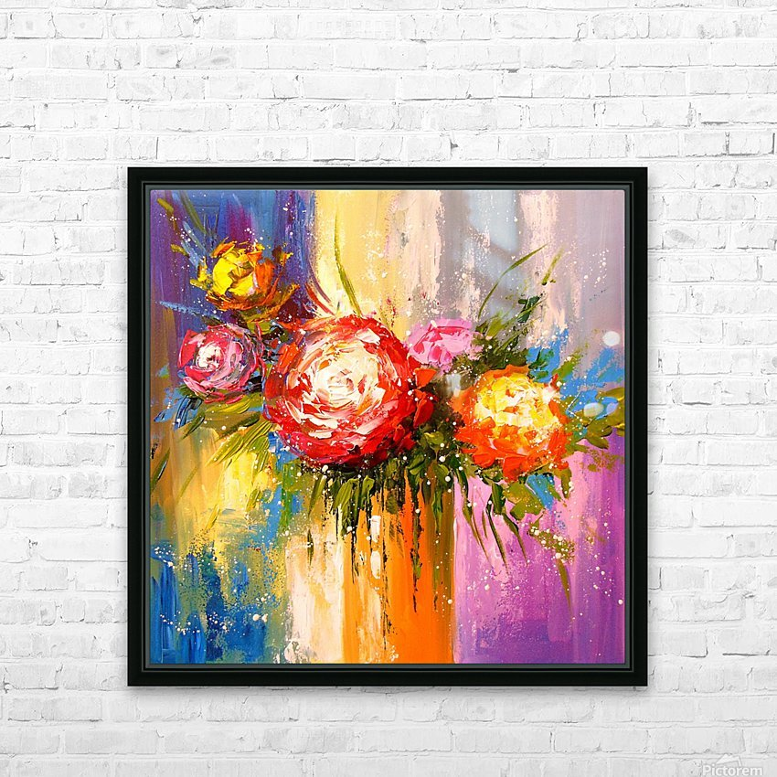 Bouquet of flowers HD Sublimation Metal print with Decorating Float Frame (BOX)