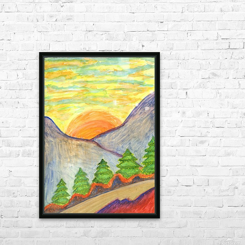Winter solstice. Road to the mountains HD Sublimation Metal print with Decorating Float Frame (BOX)