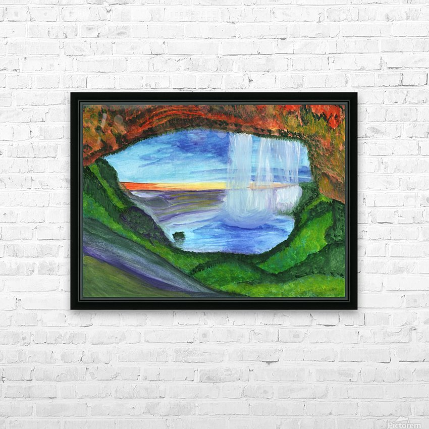 View from the cave to the waterfall HD Sublimation Metal print with Decorating Float Frame (BOX)