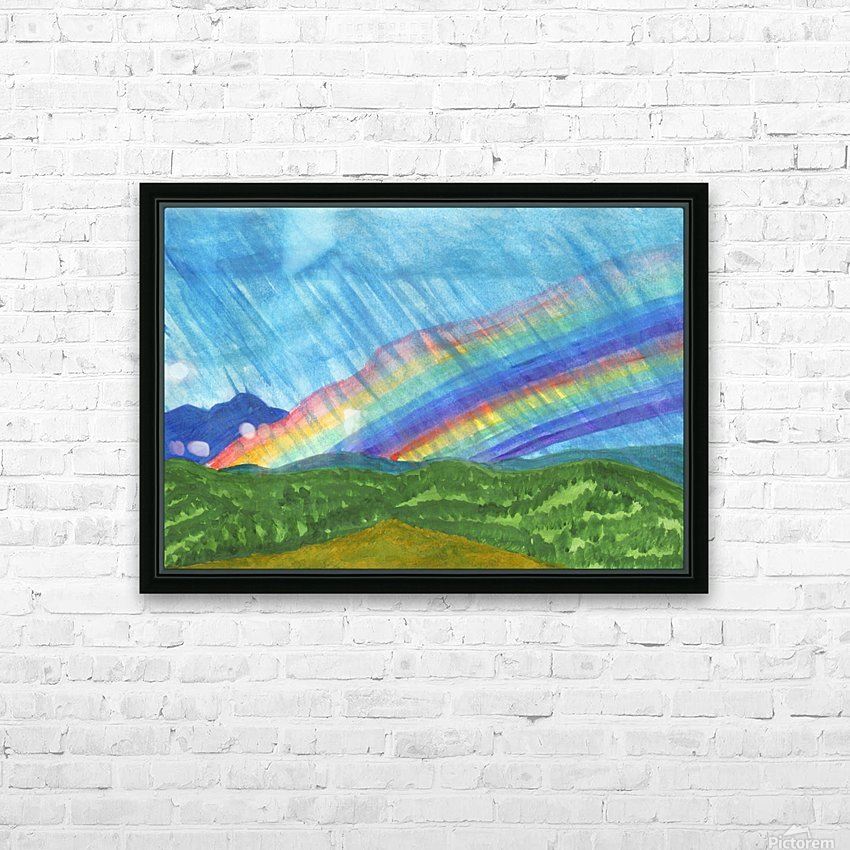 Double rainbow and rain in the mountains HD Sublimation Metal print with Decorating Float Frame (BOX)