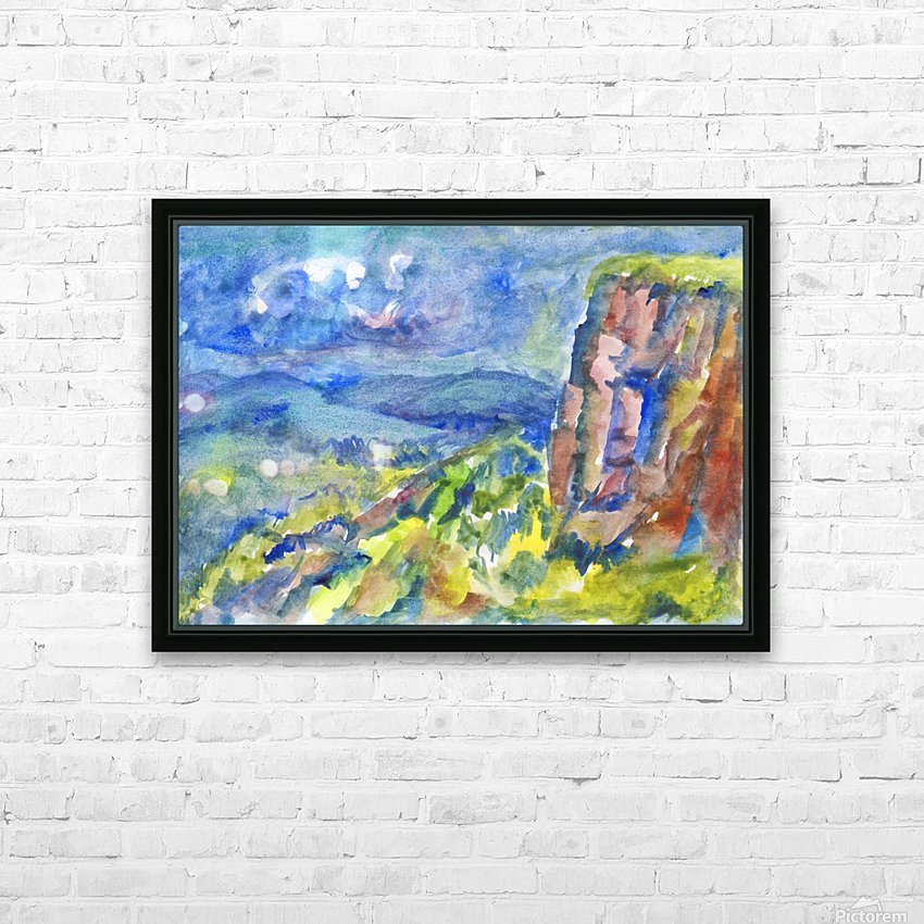 Summer landscape with cliff HD Sublimation Metal print with Decorating Float Frame (BOX)