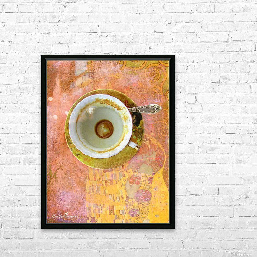 Coffee with Klimt HD Sublimation Metal print with Decorating Float Frame (BOX)
