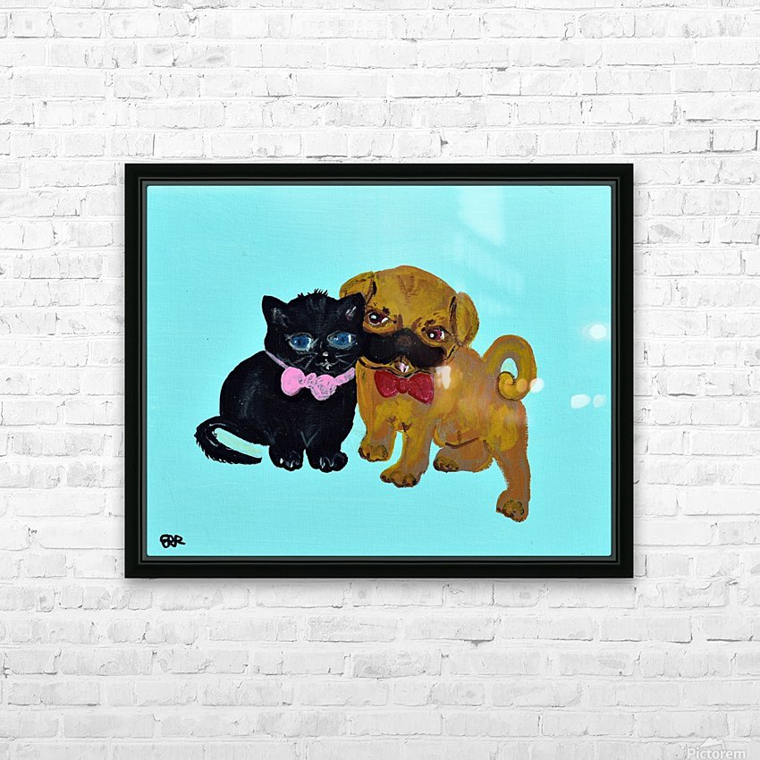 Pugs and Hugs. Erin R HD Sublimation Metal print with Decorating Float Frame (BOX)