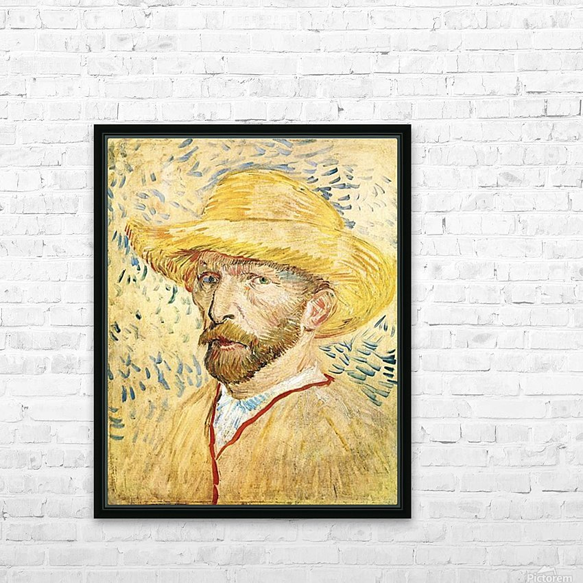 Self-Portait with straw hat by Van Gogh HD Sublimation Metal print with Decorating Float Frame (BOX)